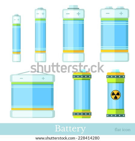 flat style set of color battery and accumulator - stock vector