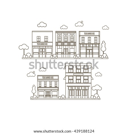 Flat Style Set Of Small Classic Vintage Buildings For Store, Restaraunt, Office or Market Icons - stock vector