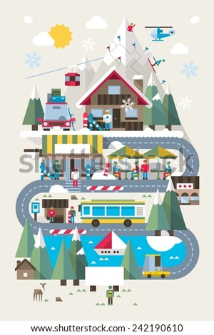 flat style ski and snowboard resort illustration, colourful vector background - stock vector