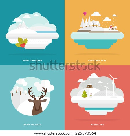 Flat Style Snowing Town Vector. Set for Winter and Xmas Holidays Design. Christmas Tree and Snowman. Winter Icons. Winter Forest, Landscape and Deer Head.  Snow-capped Mountains and Hills. - stock vector