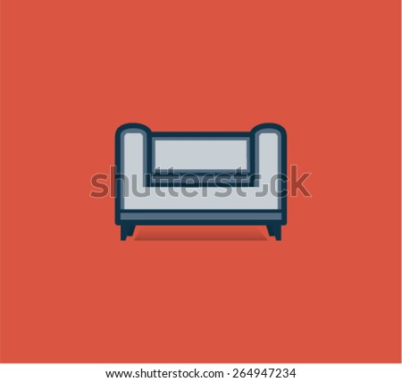 Flat Style Sofa Icon Isolated on Red Background - stock vector