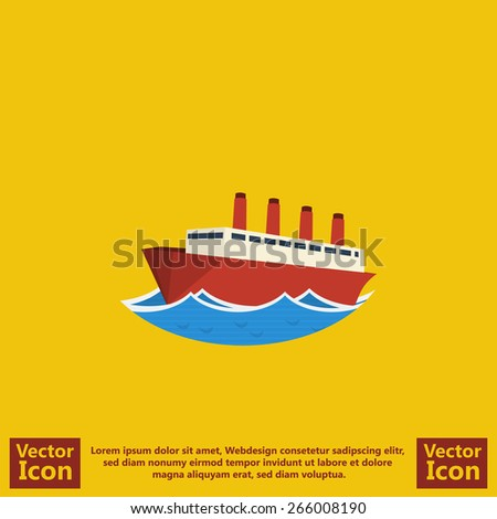 Flat style steam ship liner  icon - stock vector