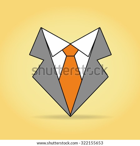 Flat style suit on yellow background.