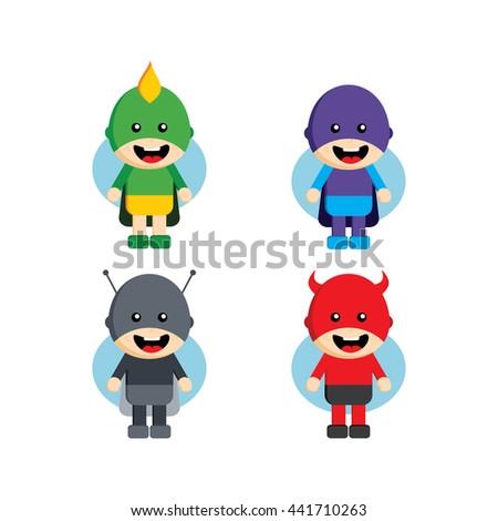 flat style superhero character avatar on stock vector 441710263