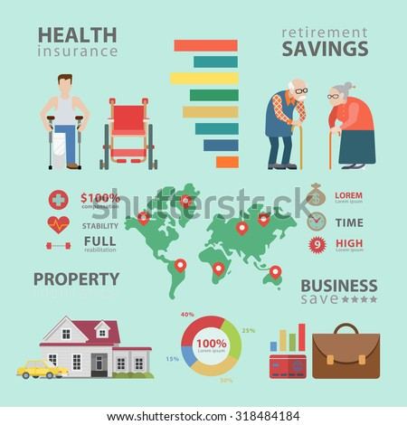 Flat style thematic health insurance retirement infographics concept. Info graphics world statistics oldies healthcare property business. Conceptual web site infographic collection. - stock vector