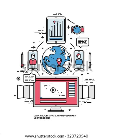 Flat Style, Thin Line Art Design. Set of application development, teamwork, web site coding, data, idea concept, information and mobile technologies vector icons and elements Modern vectors collection - stock vector