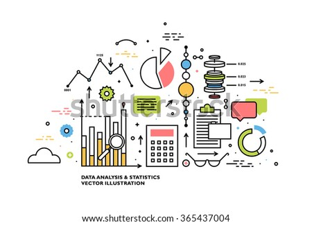 Flat Style, Thin Line Art Design. Set of application development, web site coding, information and mobile technologies vector icons and elements. Modern concept vectors collection - stock vector