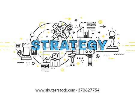 Flat Style, Thin Line Art Design. Set of application development, web site coding, information and mobile technologies vector icons and elements. Modern concept vectors collection. Strategy Concept - stock vector