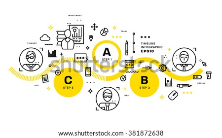 Flat Style, Thin Line Art Design. Set of application development, web site coding, information and mobile technologies vector icons and elements. Modern concept vectors collection. Steps and Options. - stock vector