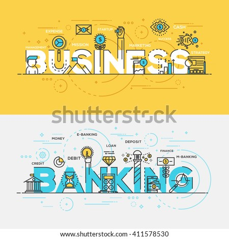 Flat Style, Thin Line Banner design of Business and Banking, Colors, Drawing, vision, etc. Modern concept. Vector Illustartion