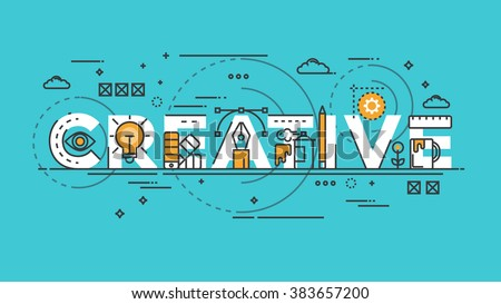 Flat Style, Thin Line Banner design of Creative, Idea, Colors, Drawing, vision, etc. Modern concept. Vector Illustartion - stock vector