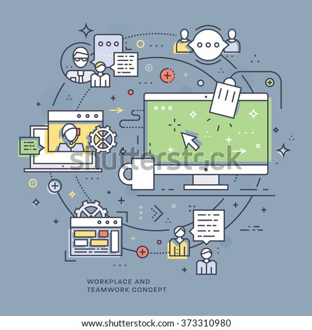 Flat Style, Thin Line Business Design. Set of application development, teamwork, web site coding, information and mobile technologies vector icons and elements. Modern concept vectors collection - stock vector