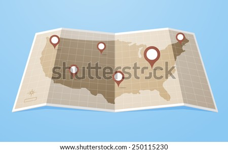Flat style United States of America map with gps pointers .Layered vector illustration EPS 10 file.  - stock vector