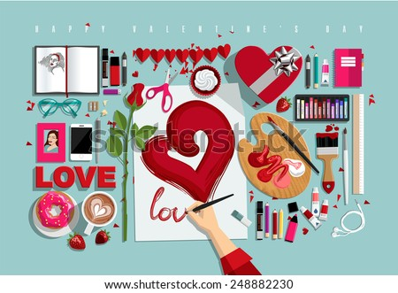 Flat Style Valentines set. Icons Collection of Work Flow Items and Elements, Stationery and Drawing Tools, Valentines day Objects and Equipment for Workplace Design. Vector Illustration - stock vector