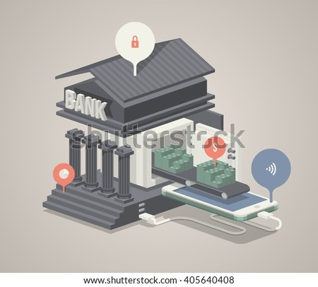 flat style vector background with mobile banking concept - stock vector