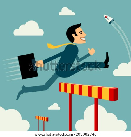 Flat style vector business man growth concept. Skip obstacle to success. New business Start up unusual banner. Graphic Design Editable For Your Design.  - stock vector