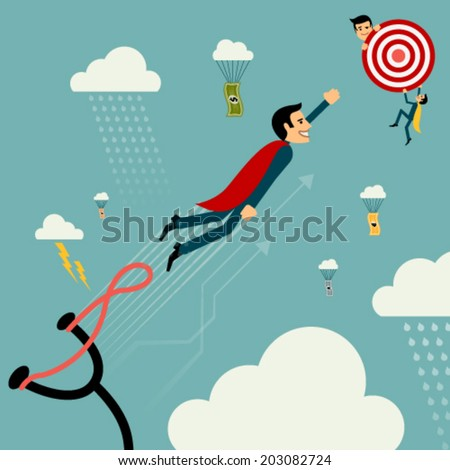 Flat style vector businessman growth. Man on catapult prepare shooting to success goal concept. New business banner. Graphic Design Editable For Your Design.  - stock vector