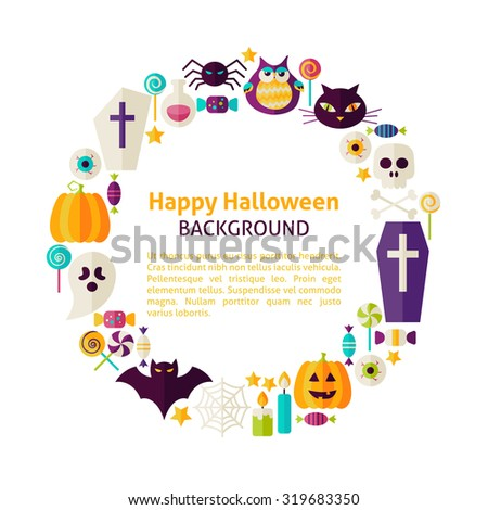 Flat Style Vector Circle Template Collection of Halloween Holiday Objects over White. Set of Trick or Treat Items Isolated over white. Template with Design Elements and Text - stock vector