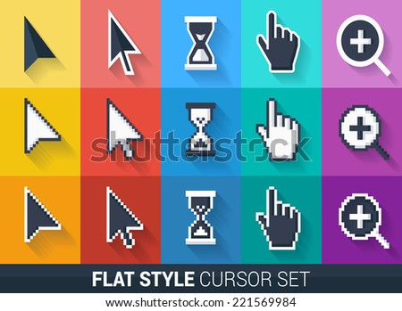 Flat style vector cursors with long shadows, on colorful background. Smooth and pixel cursors icons. - stock vector