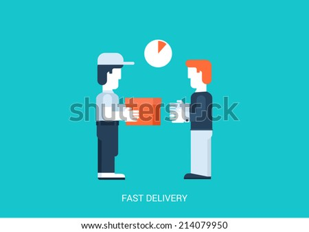 Flat style vector illustration hand to hand fast rapid shipping delivery concept. Man gives package box to another. Big flat conceptual collection. - stock vector