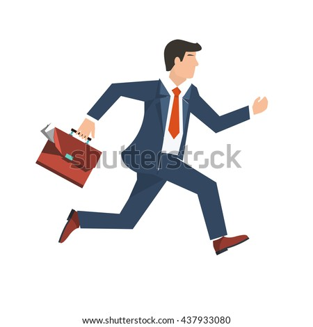 Flat style vector illustration of a businessman running, business concept - stock vector