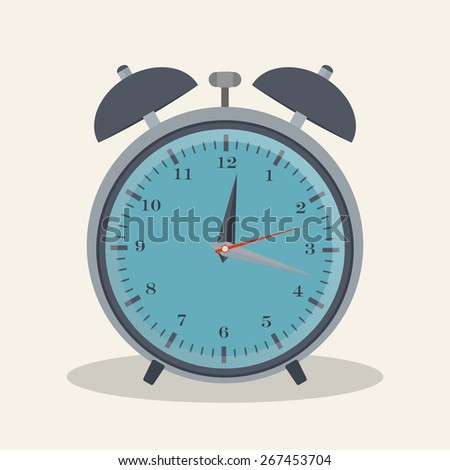 Flat style vector illustration of alarm clock for your design - stock vector