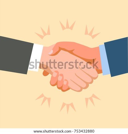 Flat style vector illustration of business strategy, shakig hand, partnership, greeting shake. Vector