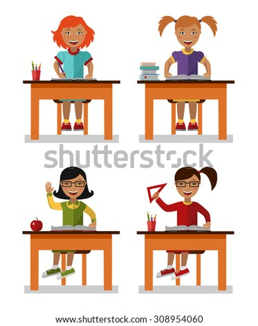 Flat style vector illustration of school kids sitting on table with books. - stock vector