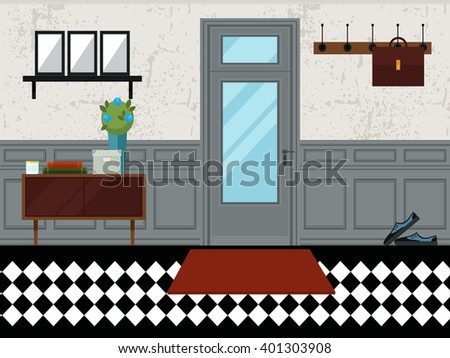 Flat style vector illustration. Vector interior design hall. Hallway interior with furniture. Hall inside the house in flat style. - stock vector