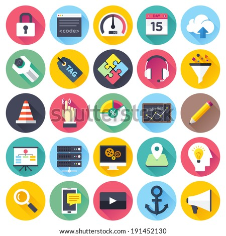 Flat style vector illustrations with long shadows; SEO and web development themed icon set. - stock vector