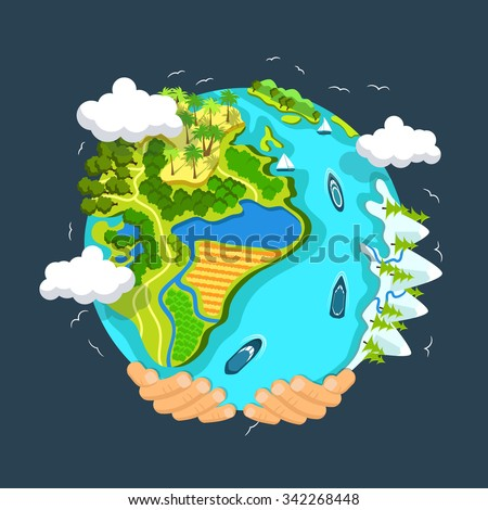 Flat style vector isolated illustration.. Earth day concept. Human hands holding floating globe in space. Save our planet. Solar, renewable energy. Clean ecology of our planet with no pollution. - stock vector