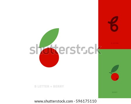 Flat style vector logo template or icon of letter b and red berry with leaf