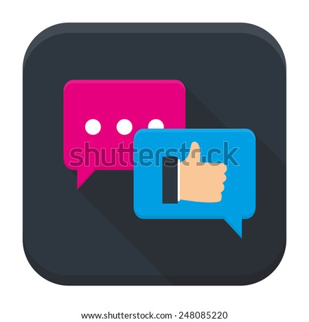 Flat style vector squared app icon. Testimonials app icon with long shadow - stock vector