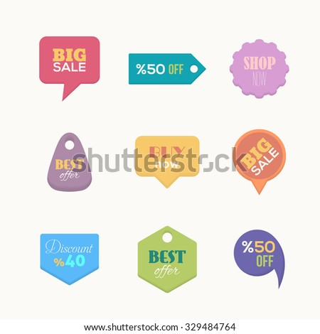 Flat Style Website Shop, Sales Elements Sign, Icons, Tag, Label Set - stock vector