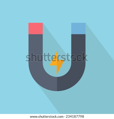 Flat style with long shadow magnet icon. Vector illustration - stock vector