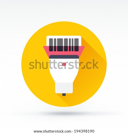 Flat style with long shadows, barcode reader vector icon illustration. - stock vector