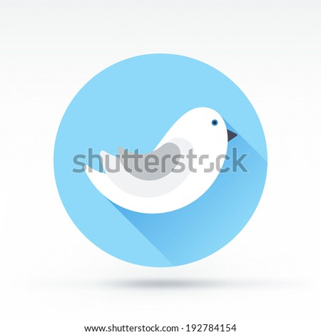Flat style with long shadows, bird vector icon illustration. - stock vector