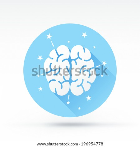 Flat style with long shadows, brainstorming vector icon illustration. - stock vector