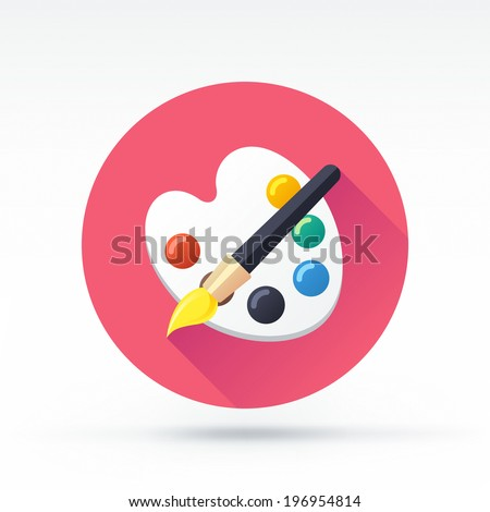 Flat style with long shadows, brush with palette vector icon illustration. - stock vector