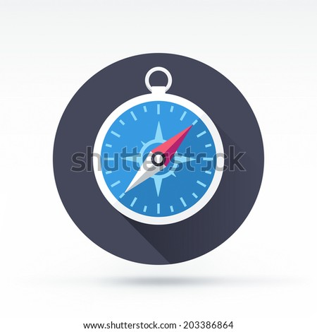 Flat style with long shadows, compass vector icon illustration.