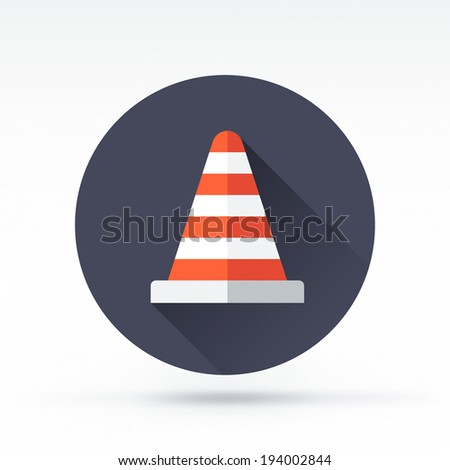 Flat style with long shadows, cone vector icon illustration. - stock vector