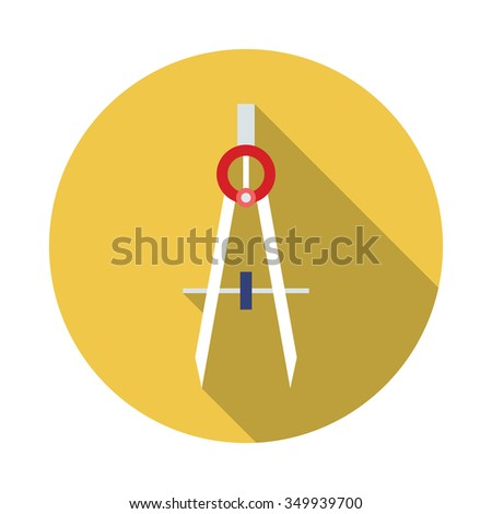 Flat style with long shadows, drawing compass vector icon illustration - stock vector
