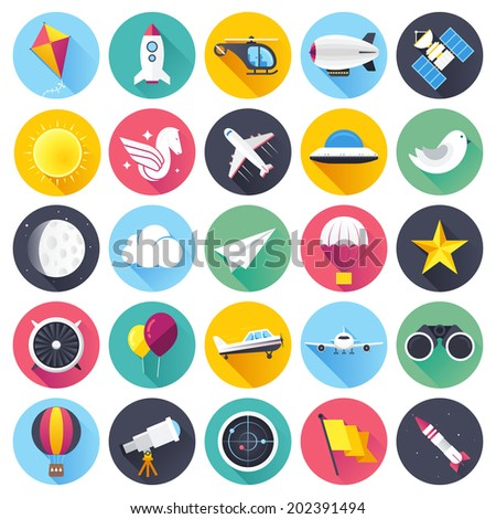 Flat style with long shadows, everything up in the air, aviation themed vector icon illustration. - stock vector