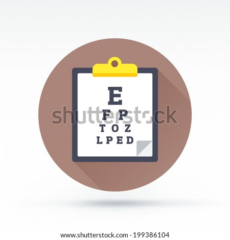Flat style with long shadows, eye test chart vector icon illustration. - stock vector