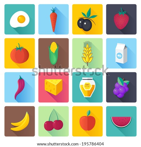 Flat style with long shadows, fresh fruit and vegetables vector illustrations icons set. - stock vector