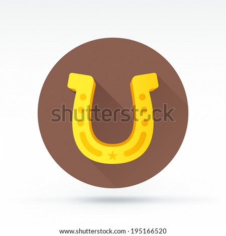 Flat style with long shadows, horseshoe vector icon illustration. - stock vector