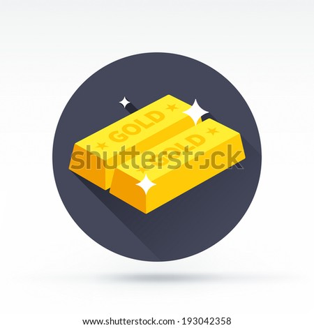 Flat style with long shadows, ingot vector icon illustration. - stock vector