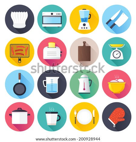 Flat style with long shadows, kitchen objects vector icon illustration. - stock vector