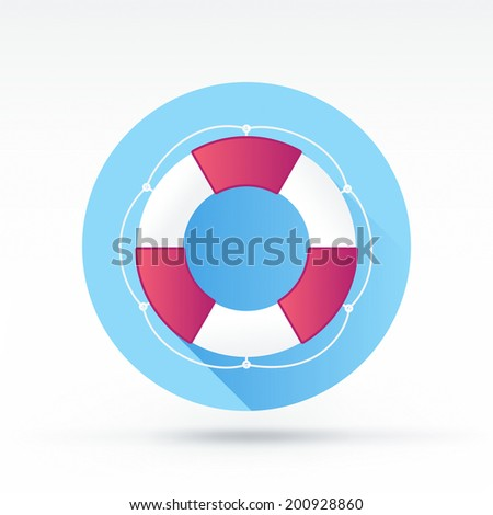 Flat style with long shadows, life belt vector icon illustration. - stock vector