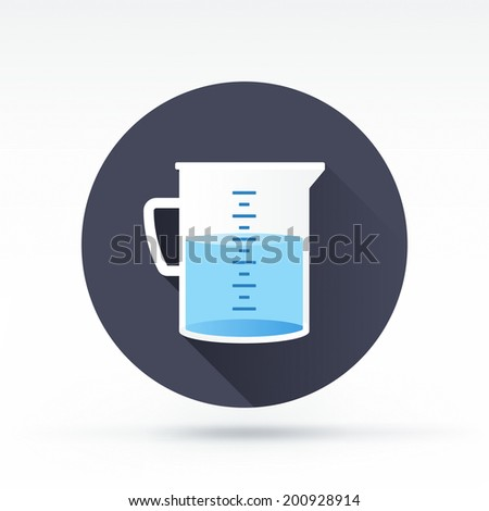 Flat style with long shadows, measuring cup vector icon illustration. - stock vector